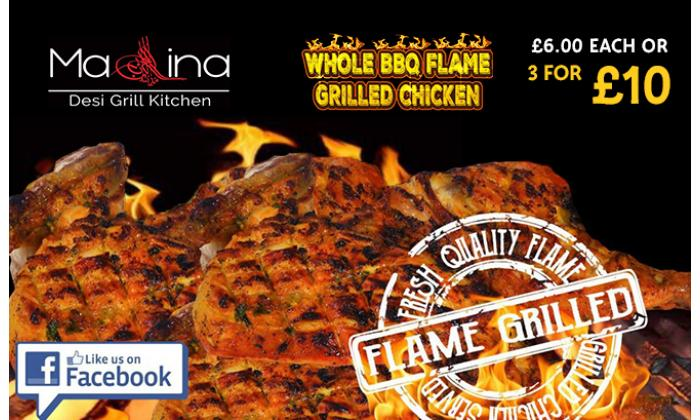 Whole BBQ Flame Grilled Chicken £6 each or 3 for £10 image