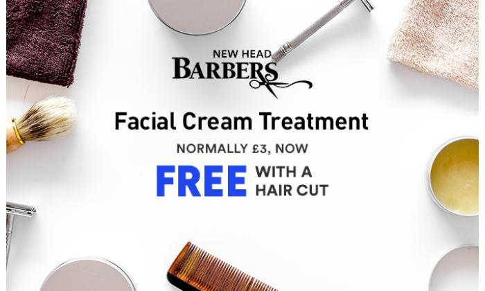 Facial Cream Treatment normally 3.00 Now Free with a Hair cut image